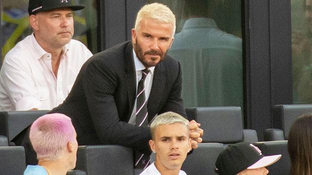 David Beckham & Look-Alike Son Romeo, 18, Rock Matching Bleached Blonde Hairstyles In Cute Photo.jpg