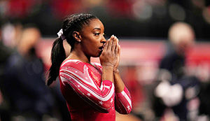 Simone Biles prepares for the floor exercise during the women's U.S. Olympic Gymnastics Trials, in St. LouisUS Gymnastics Olympic Trials, St. Louis, United States - 27 Jun 2021
