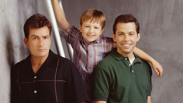 two and a half men stars angus t jones, charlie sheen and jon cryer