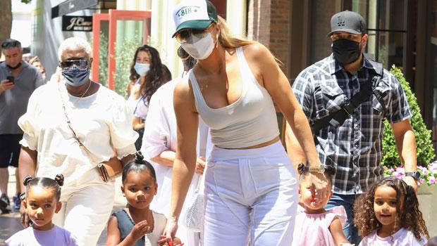Khloé Kardashian Rocks A Crop Top While Grabbing Ice Cream With Dream, Stormi, Chicago & True