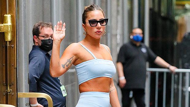 Lady Gaga Rocks A Powder Blue Crop Top & Leggings Outside Radio City Music Hall In NYC.jpg