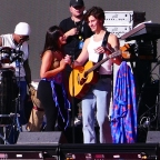 Camila Cabello and Shawn Mendes share multiple kisses as they laugh as stagehand keeps building the set during their romantic soundcheck as fans join in on the laughs as they perform at Global Citizens in the hot sun day before massive event in NYC