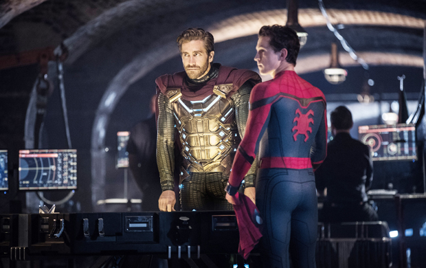SPIDER-MAN: FAR FROM HOME, from left: Jake Gyllenhaal, Tom Holland, 2019.