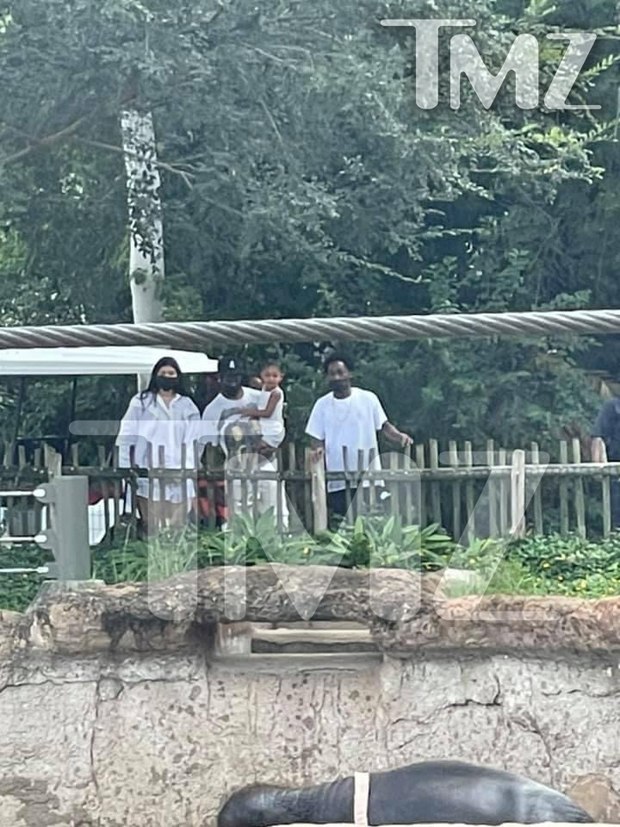 Kylie Jenner, Travis Scott, and Stormi Webster at the Houston Zoo