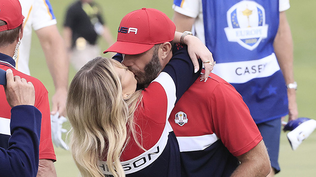 Paulina Gretzky Jumps Into Dustin Johnson's Arms & Kisses Him After Ryder Cup Win