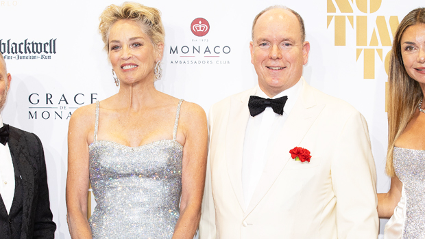 Sharon Stone, 63, Sparkles In Silver Sequins With Prince Albert At 'No Time To Die' Premiere In Monaco