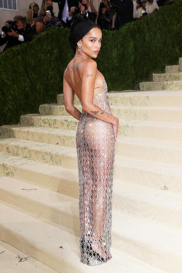 , Zoe Kravitz Rocks Mesh Saint Laurent Dress At The Met Gala, Walks Red Carpet Without Channing Tatum,