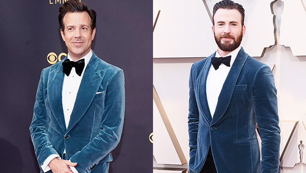 Jason Sudeikis Channels Chris Evans' 2019 Oscars Look With Velvet Suit At The Emmys.jpg
