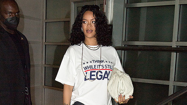 Rihanna Glows While Sharing A Political Message On T-Shirt As She Heads To A Music Studio – Photos
