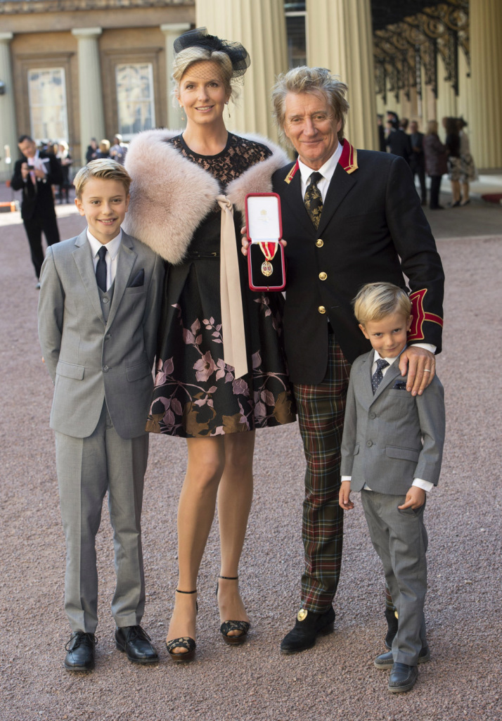 Rod Stewart with sons Aiden and Alastair