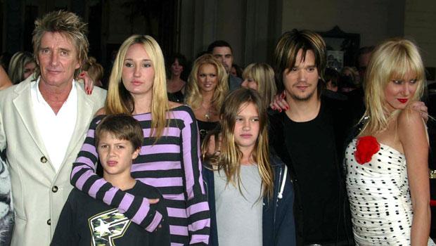 Rod Stewart with his kids