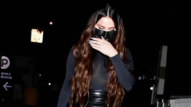 Selena Gomez Sizzles In Skintight Latex Mini Skirt & Sheer Turtleneck Stepping Out To Dinner In L.A. — Photos.jpg