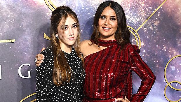 Salma Hayek & Her Gorgeous Daughter Valentina, 14, Sparkle On The 'Eternals' London Premiere Red Carpet