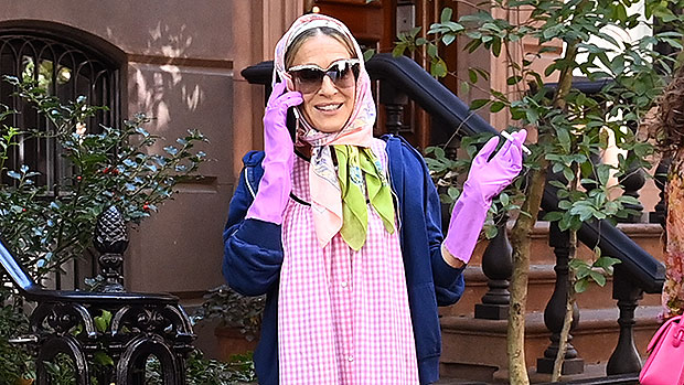 Sarah Jessica Parker Wears Bizarre Outfit With Rubber Gloves While Filming 'SATC' Revival