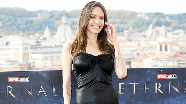 Angelina Jolie Slips Into Black Leather Midi Dress For 'Eternals' Photocall In Italy — Photos