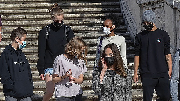 Angelina Jolie Tours Rome With Shiloh, Zahara, Maddox, Twins Vivienne & Knox After Premiere
