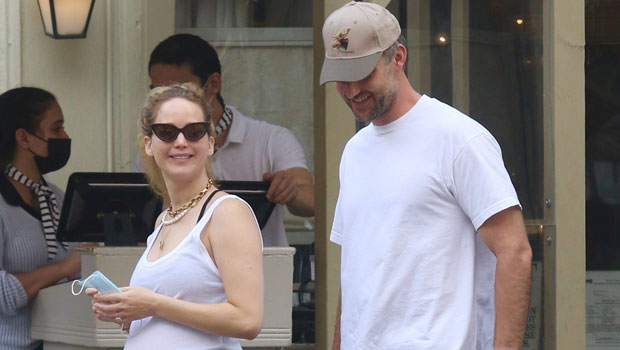 Pregnant Jennifer Lawrence Sweetly PDAs With Husband Cooke Maroney In A White Tank Top – Photos.jpg