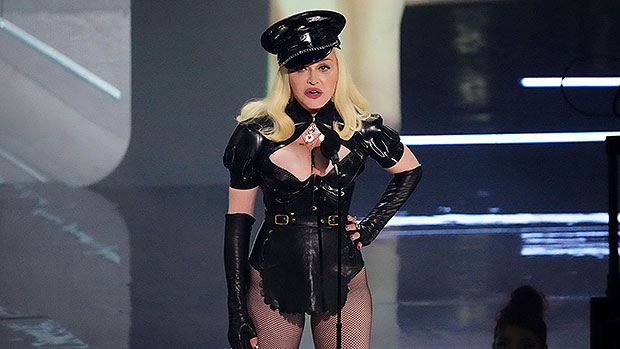 Madonna, 63, Channels A Naughty School Girl In Red Mini Skirt & Sheer Stockings – Photos