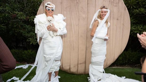 Paris Hilton Rocks A Dress Made Out Of Toilet Paper For Backyard Bridal Brunch — Photo.jpg