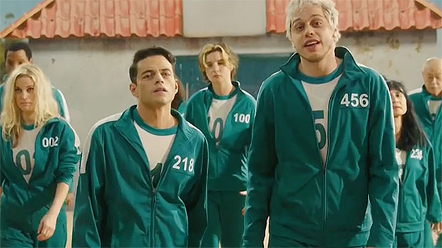 Rami Malek & Pete Davidson Spoof 'Squid Game' With Country Tune On 'SNL'