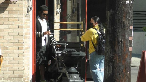 Usher & GF Jenn Goicoechea Take Newborn Son For A Stroll In 1st Pic Since Welcoming Baby